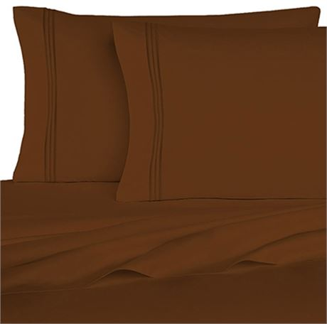 New Homecrest 1800 series Queen Size 6 pc Sheet Set Chocolate Brown