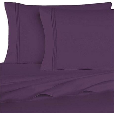 New Homecrest 1800 series Queen Size 6 pc Sheet Set Egg Plant Purple