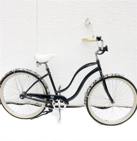 Vintage Inspired Black Schwinn Beach Cruiser w/Tropical Motif