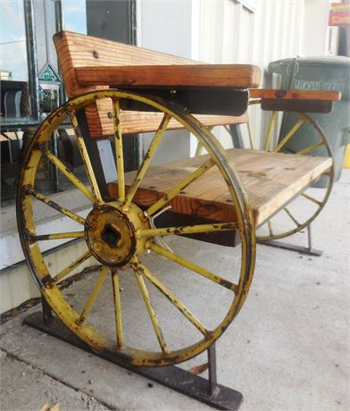 Wooden Bench w/Wagon Wheels