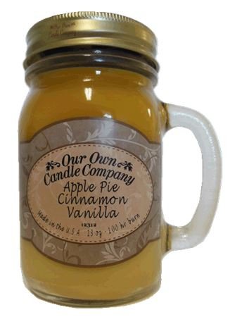 Apple Pie/Cinn/Vanilla 2-Pack Scented Soy Blend 13oz Candles in Mason Jars