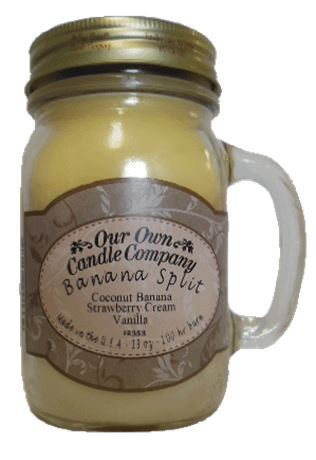 Banana Split 2-Pack Scented Soy Blend 13oz Candles in Mason Jars