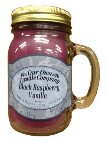 Black Raspberry Vanilla 2-Pack Scented Soy Blend 13oz Candles in Mason Jars