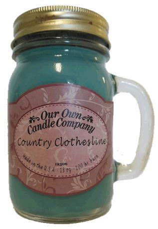 Country Clothesline 2-Pack Scented Soy Blend 13oz Candles in Mason Jars