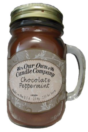 Chocolate Peppermint Stick 2-Pack Scented Soy Blend 13oz Candles in Mason Jars