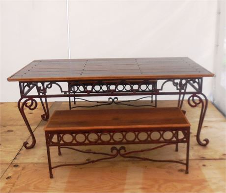 Iron/Wood Dining Table w/Benches
