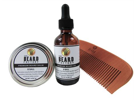 8 Ball Beard Oil and Mustache Grooming 3 Pak Kit (Large 2 oz bottle and Tin)